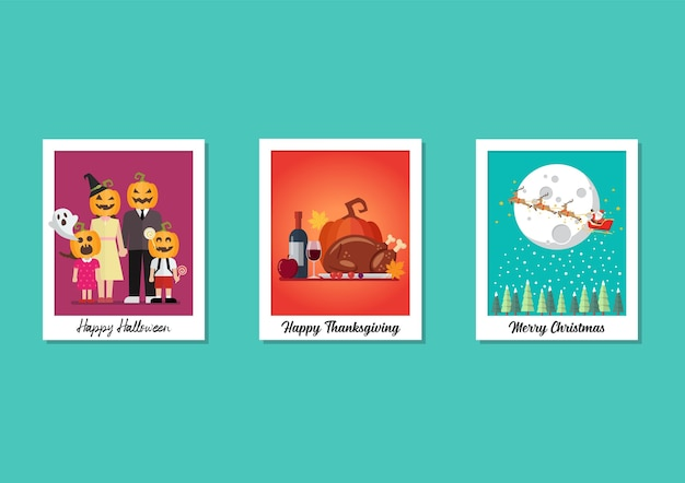 Polaroid photo frames holiday collectie set. halloween thanksgiving en kerstmis. Premium Vector