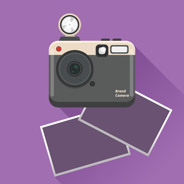Polaroidcamera en foto's Gratis Vector
