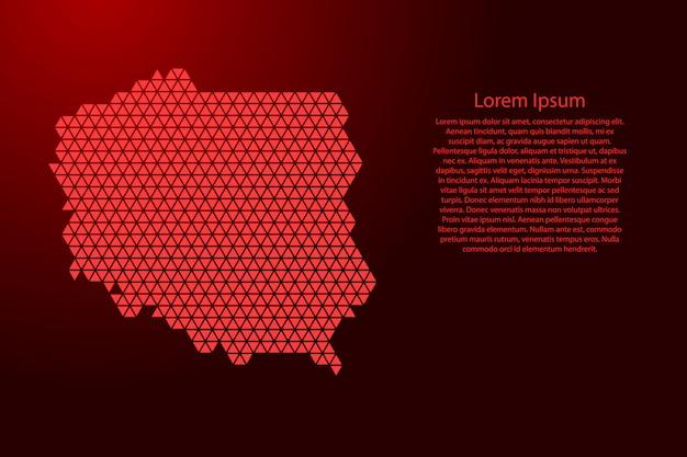Polen kaart abstract schema van rode driehoeken Premium Vector