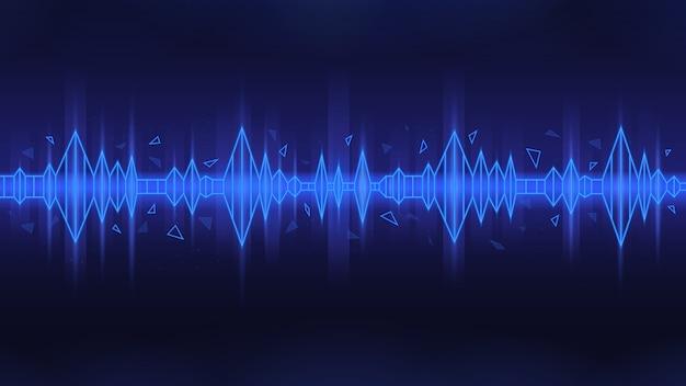 Poligonal-geluidsgolf in blauw thema op donkere achtergrond Premium Vector