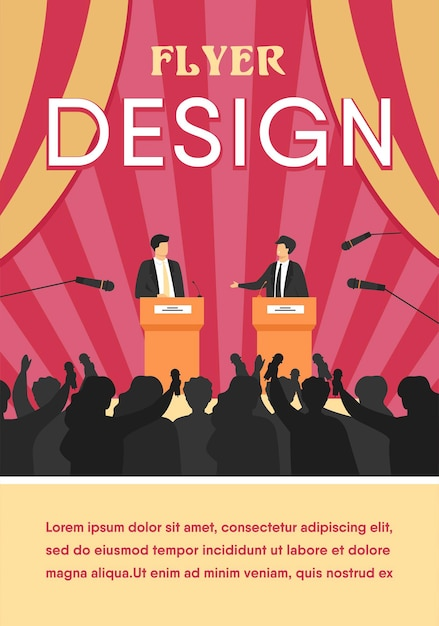 Politici praten of debatten voor publiek flat Gratis Vector