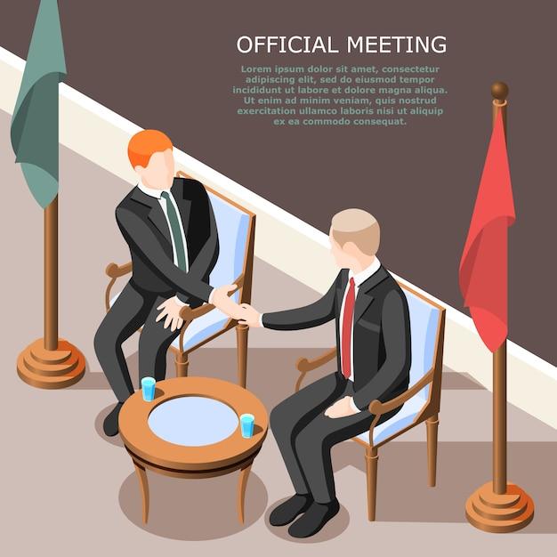 Politici tijdens handbewegingen op isometrische officiële vergadering Gratis Vector