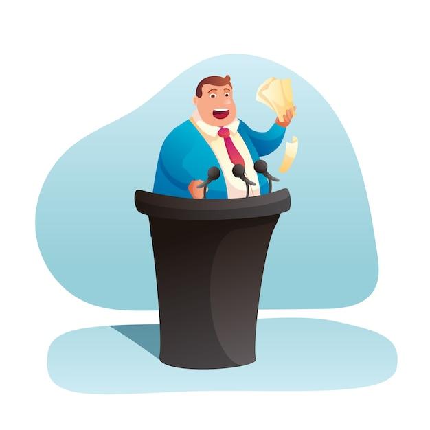 Politicus die toespraakillustratie geeft. dikke zakenman spreken op tribune, stripfiguur spreker in het openbaar. verkiezingscampagne, kandidaat die op podium clipart staat Premium Vector