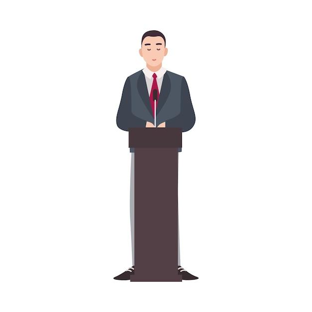 Politicus die zich op podium bevindt en openbare toespraak houdt Premium Vector
