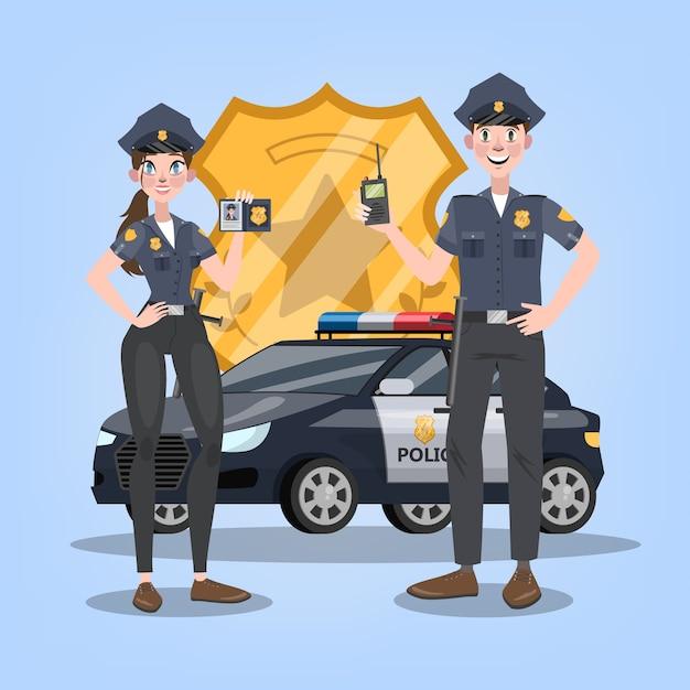 Politie-auto of auto met gouden badge op achtergrond. paar vrouwelijke en mannelijke politieagent. 911 voertuig, spoedtransport. illustratie Premium Vector