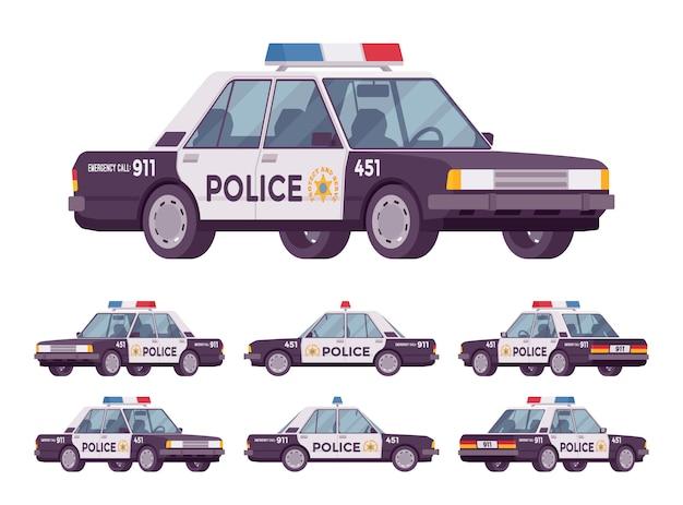 Politie auto set Premium Vector