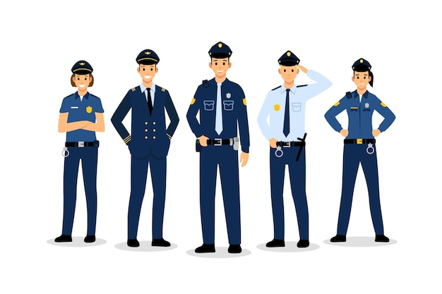 Politie collectie concept Gratis Vector