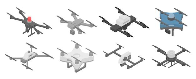 Politie drone iconen set, isometrische stijl Premium Vector