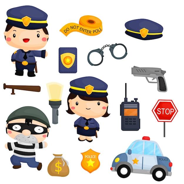 Politie en rover Premium Vector