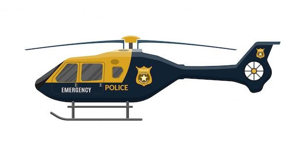 Politie helikopter icoon. vliegtuigvoertuig. Premium Vector