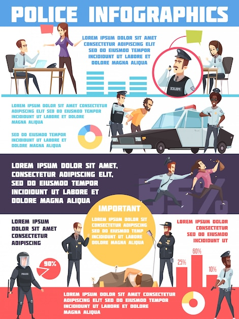 Politie infographics lay-out Gratis Vector
