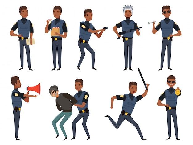 Politie tekens. patrouille politieagent beveiligingsautoriteit mascottes in actie vormt cartoon illustraties Premium Vector