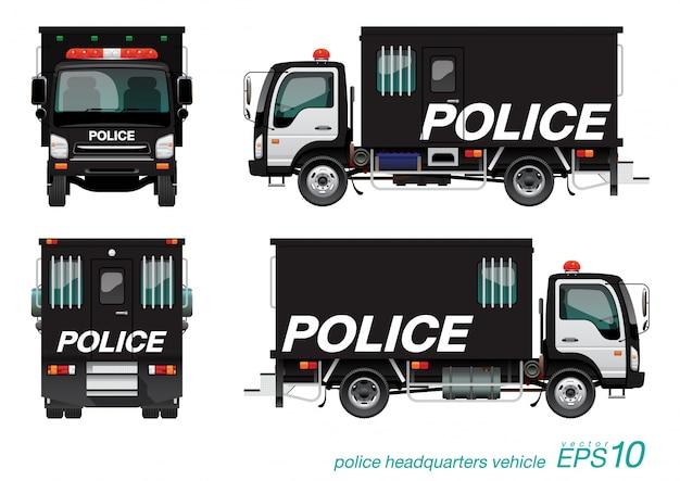 Politie vrachtwagen Premium Vector