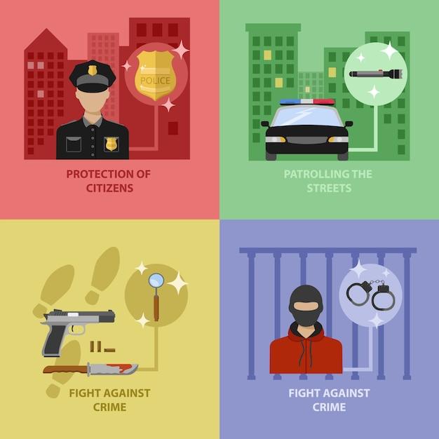 Politie werk concept Gratis Vector