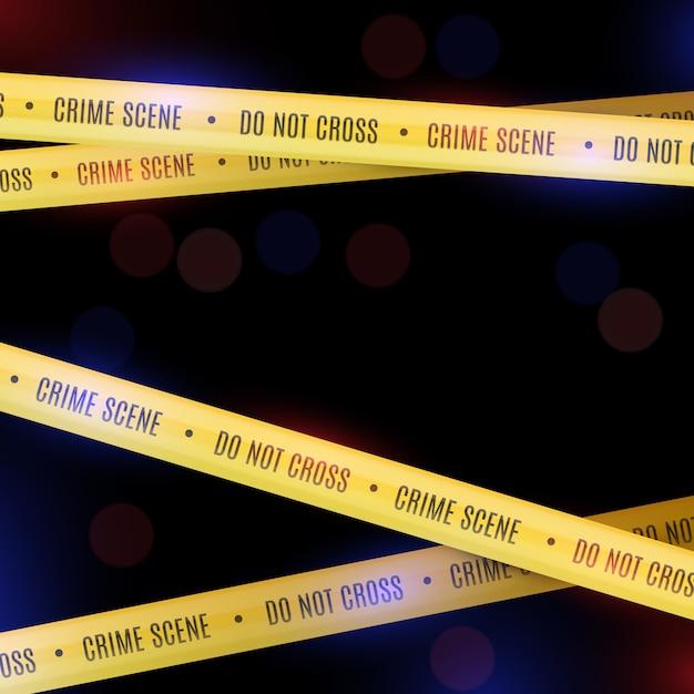 Politieafdekking met gele politiebanden. plaats delict. Premium Vector