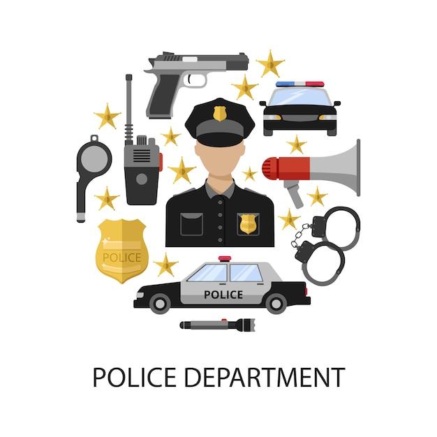Politieafdeling ronde ontwerp Gratis Vector