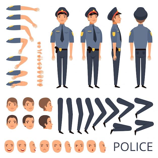 Politieagent constructor, beveiliging bodyguard beroep karakter creatie kit met shotgun verschillende poses cap officier uniform Premium Vector
