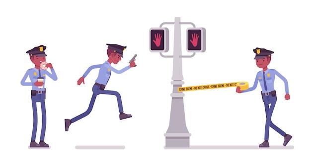 Politieagent dient en beschermt stadsbanner Premium Vector