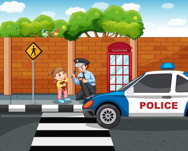 Politieagent en verloren meisje in de stad Gratis Vector