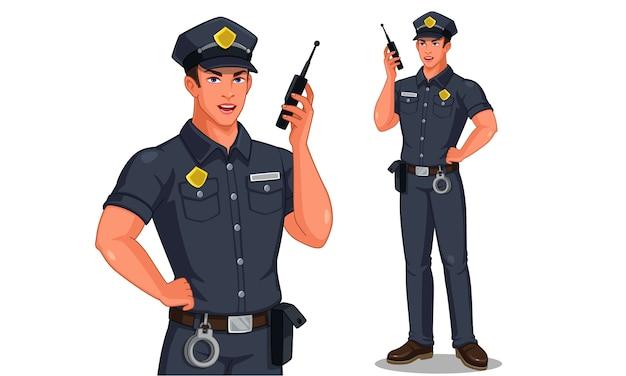 Politieagent in staande houding praten over walkie-talkie radio illustratie Premium Vector
