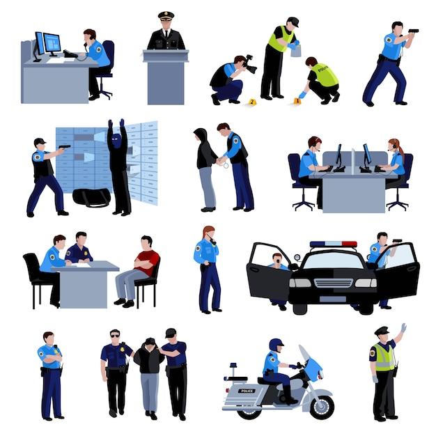 Politieagent mensen op kantoor en buiten met politie-auto en situatie arrestatie van dader Gratis Vector