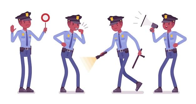 Politieagent met signalen en licht Premium Vector