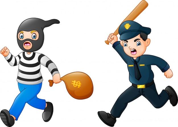 Politieagent probeert een dief te achtervolgen Premium Vector