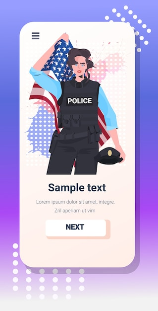Politieagente in uniform met usa vlag gelukkige dag van de arbeid viering Premium Vector