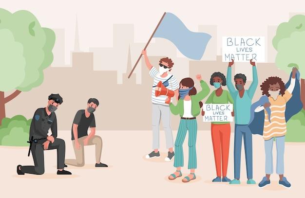 Politieagenten die een knie nemen voor protesterende mensen in de vlakke afbeelding van het stadspark. mensen die elkaar ontmoeten, vlaggen en spandoeken met zwarte levens vasthouden, zijn belangrijk voor woorden. stop racisme concept. Premium Vector