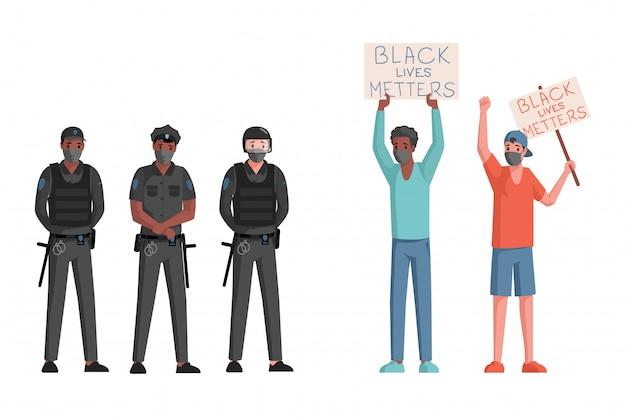 Politieagenten en mannen in gezichtsmaskers met borden en spandoeken met zwarte levens zijn van belang woorden platte vectorillustratie. Premium Vector
