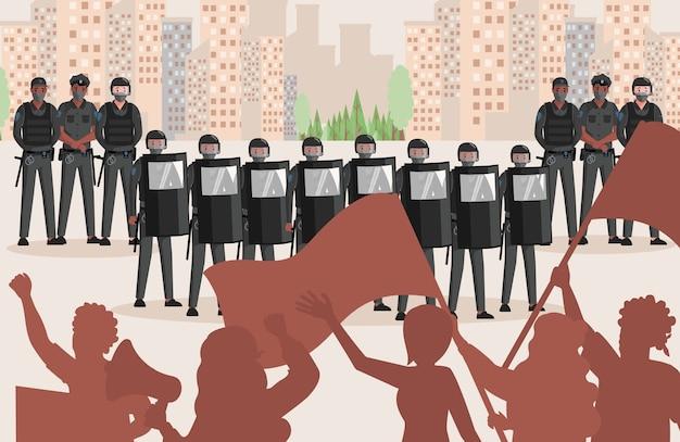 Politieagenten in uniform tegen protesterende mensen vlakke afbeelding. mensen met vlaggen en luidsprekers protesteren tegen onrecht, politiemensen beschermen de stad tegen vernietiging. Premium Vector