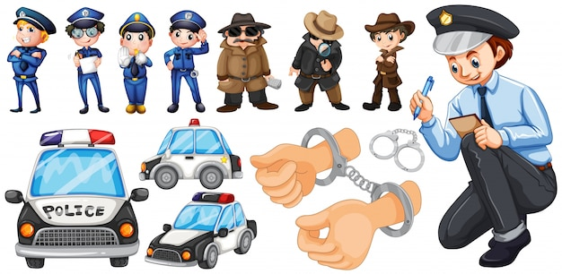 Politieambtenaren en politieauto stellen illustratie Gratis Vector