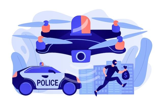 Politieauto en drone-opsporingsdief in masker met geld en plaats delict Gratis Vector