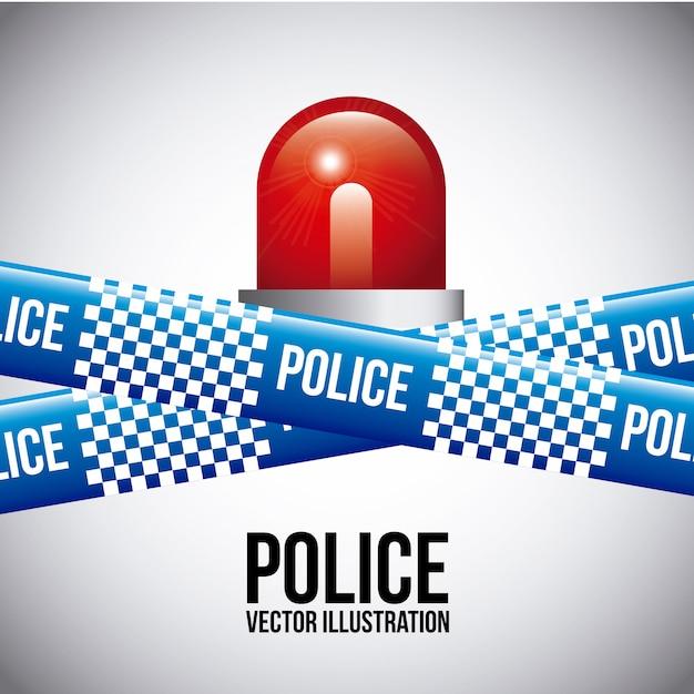 Politiebanden over grijze vectorillustratie als achtergrond Premium Vector