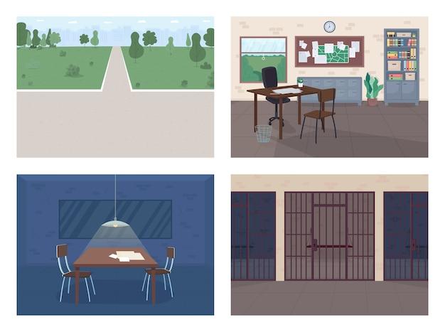 Politiebureau egale kleur illustratie set lege politieagent kantoor ondervraging kamer misdaad onderzoek openbaar park juridische afdeling d cartoon interieur met meubilair Premium Vector