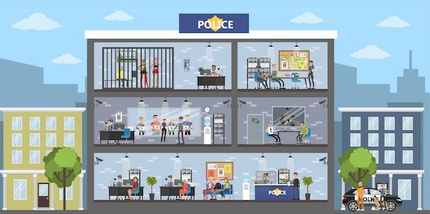 Politiebureau gebouw interieur met politie en bezoekers. Premium Vector