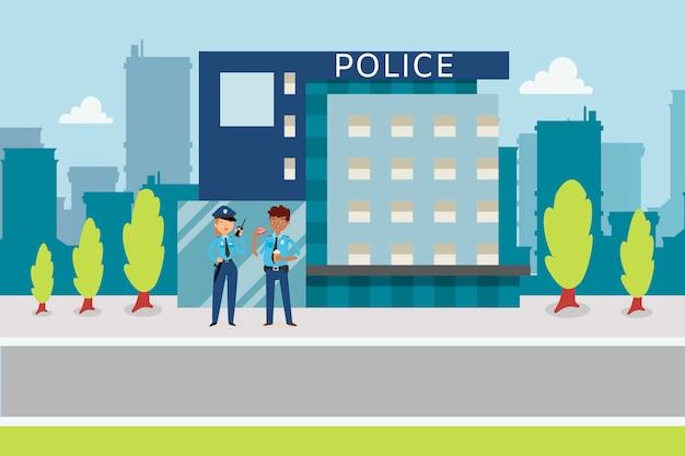 Politieconcept met politie vlakke stijl dichtbij het station van de politiestad, beeldverhaalillustratie. Premium Vector