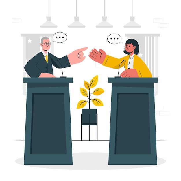 Politiek debat concept illustratie Gratis Vector