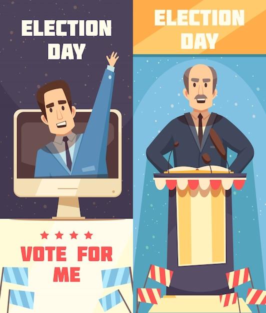 Politiek verkiezingscampagne verticale banners Gratis Vector