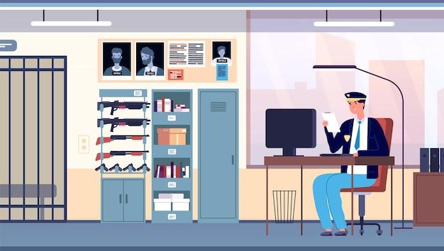 Politiekantoor. wetshandhavingskamer stadsafdeling. cop in uniform bezig met professionele onderzoeker in kabinet interieur vector concept. illustratie politiebureau, politie van het stadsbureau Premium Vector