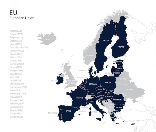 Politieke kaart van de eu (europese unie) zonder verenigd koninkrijk. Premium Vector