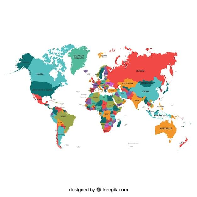 Politieke kaart van de wereld Gratis Vector