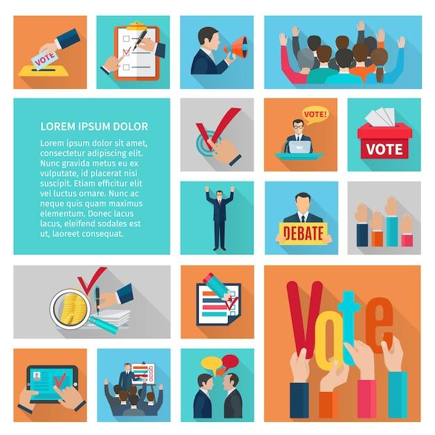 Politieke verkiezingen en stemming vlakke decoratieve pictogrammen instellen Gratis Vector