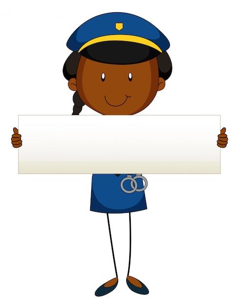 Politieman die leeg teken houdt Gratis Vector