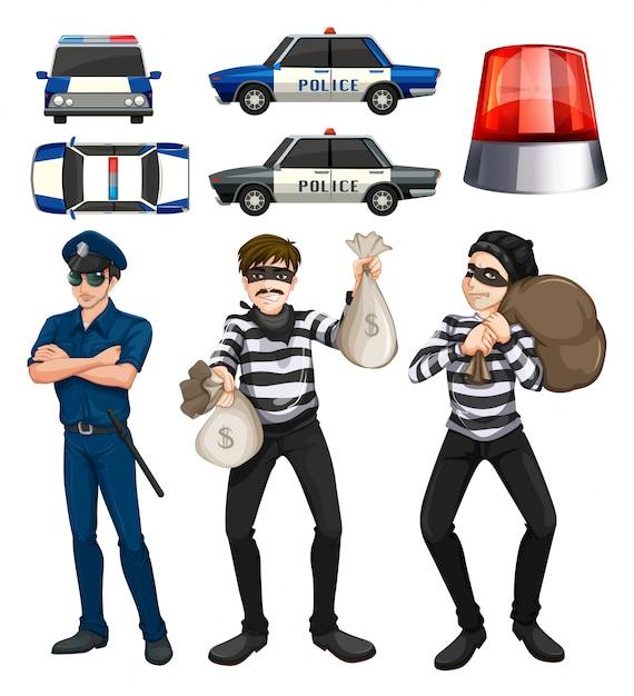 Politieman en rovers zetten illustratie Gratis Vector