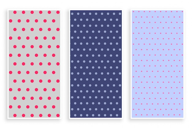 Polka dots patroon banner set Gratis Vector