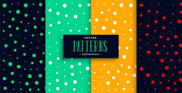 Polka stijl kleurrijke cirkels patroon set Gratis Vector