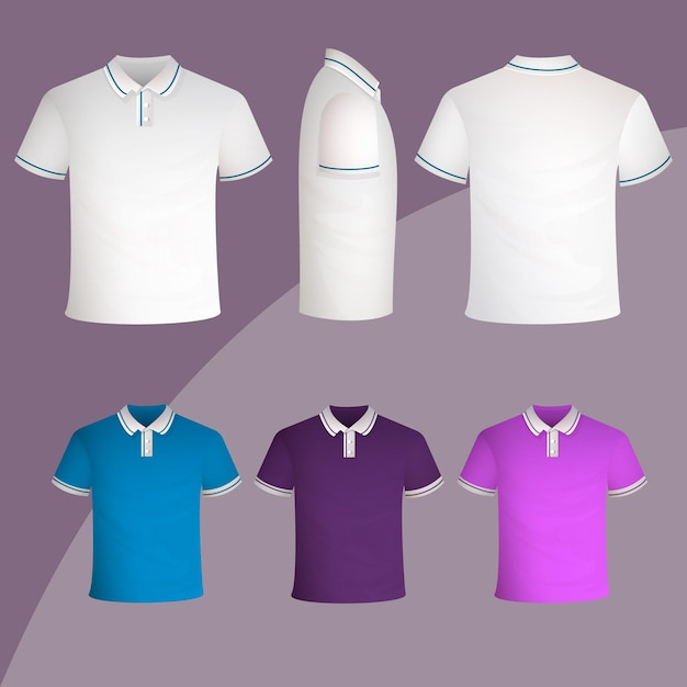 Polo shirt collectie concept Gratis Vector