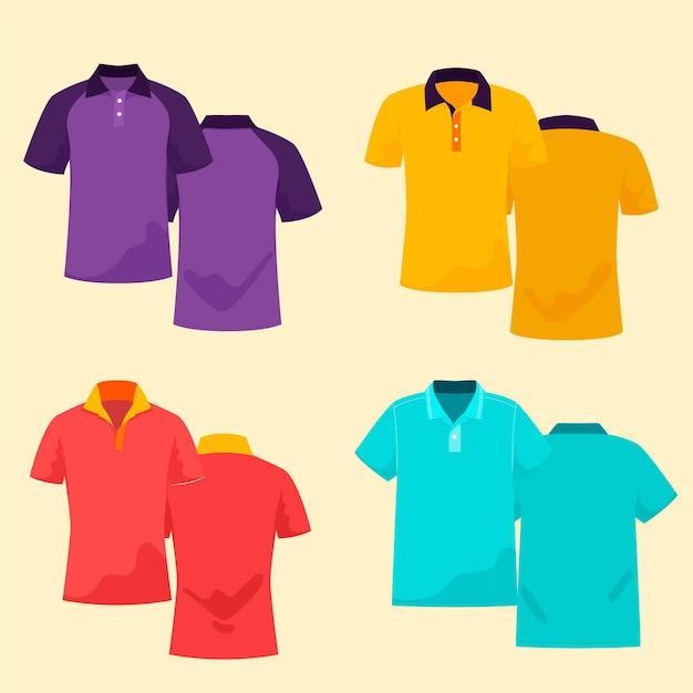 Polo shirt set Premium Vector
