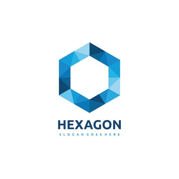 Polygonaal zeshoek logo Gratis Vector